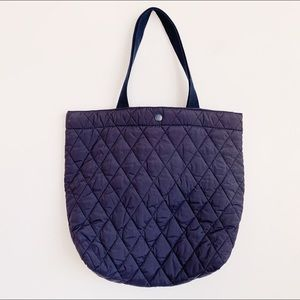 vtg nylon navy blue quilted puffer top handle tote